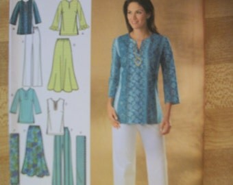 Simplicity 4149 Misses (Size AA 10,12,14,16,18)) skirt, pants, tunic and scarf. Easy-to-sew