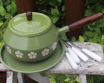 Retro Avocado fondue pot w/ 4 porcelain forks and tray, retro entertaining, retro green fondue pot with floral pattern, fondue party