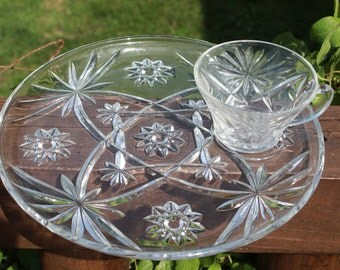 4 Early American Prescut luncheon plates, vintage EAPG snack plates and cup clear glass round tray sets cut glass plates crystal plates cup