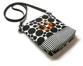 Monogrammed crossbody bag, sling purse, shoulder bag purse, personalized crossbody purse: Black and white dots and stripes, adjustable strap