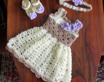Baby Dress Crochet Pattern , Baby booties pattern, instant download, Headband pattern, Digital Download, baby Girl Dress Set
