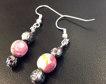 White and pink floral earrings