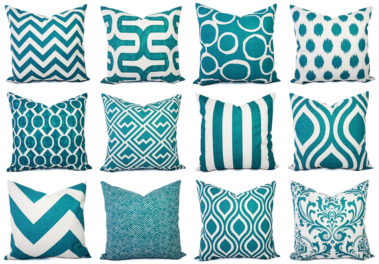 Turquoise Throw Pillows Covers : Decorative Pillow Covers One Turquoise and by CastawayCoveDecor