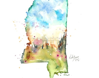 Mississippi Map - Print of watercolor map