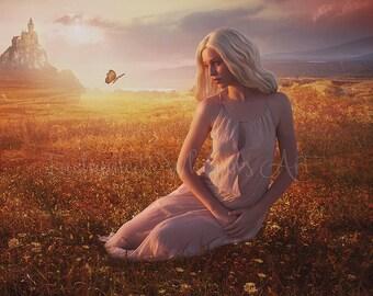 Fantasy Princess art,fantasy castle art,Fantasy woman art,fantasy wall art,fantasy decor,sunny field art,sunset,butterflies,flowers