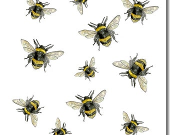 Busy Bees Greeting Card - Bee Birthday Card, Blank Inside, Insects, Woodland Theme