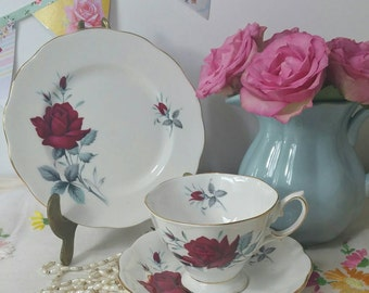 Vintage Royal Albert sweet romance tea cup, saucer and tea plate trio. 1950s. TT102