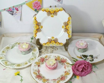 Vintage tea plates in shades of yellow. Set of four mismatched side plates by colclough, royal imperial, Duchess and caversham.
