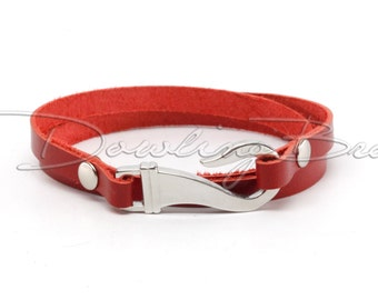 Red Leather Stainless Steel Hook Cuff Bracelet