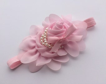 Light pink pearl rose headband chiffon flower headband