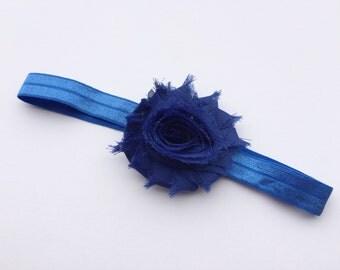 Blue shabby flower headband