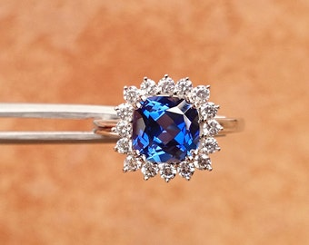 Sapphire Ring, 925 Silver Ring, Synthetic Sapphire Gemstone Ring, Women Ring Jewelry US size 7.5