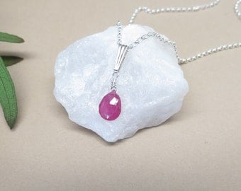Natural Ruby Pendant Necklace, Pink Gemstone Necklace, July Birthstone Necklace,Ruby Necklace In Sterling Silver,16-18 Inches