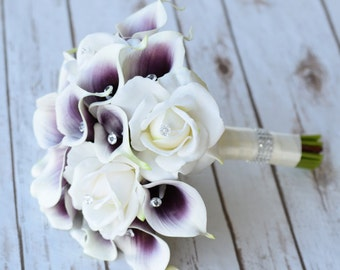 Wedding Bouquet Off White Roses and Purple Heart Calla Lilies Silk Flower Bride Bouquet - Crystals