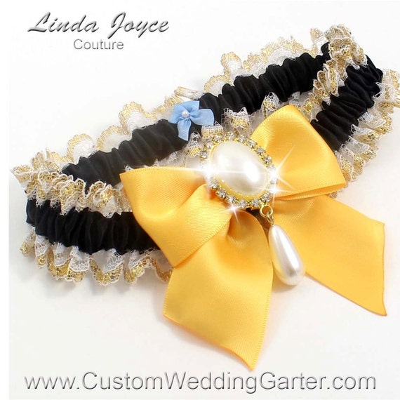 Items Similar To Black And Gold Yellow WEDDING GARTER