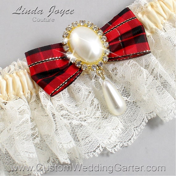 Ivory And Red Tartan Plaid Wedding Garter By