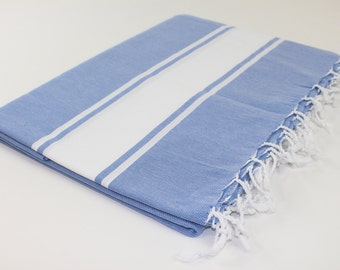 Beach Picnic Oversized Blanket, Beach Towel Blanket, Excellent Quality, 100% Turkish Cotton Blue