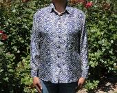 Blue Grey Abstract Silk Shirt