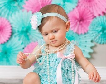 Lace Romper...Aqua Birthday Girl Outfit...Smash Cake Outfit...Ruffle Romper..First Birthday Outfit..First Birthday Romper..1st Birthday Girl