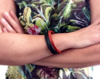 Boho Leather Bangles in Orange and Green