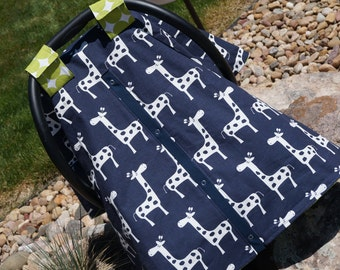 Car Seat Canopy, Designer giraffe print Navy & Green/ by Official Baby Business