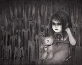 Original Art by PeeMonster - 'Present Company Excluded' graphite drawing dark teddy bear love