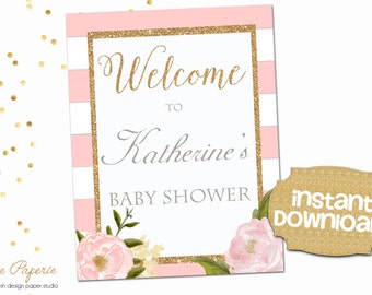 INSTANT DOWNLOAD - Pink Floral Baby OR Bridal Shower Welcome Sign Printable - Floral Welcome Sign - Pink Shower Welcome Sign - 0128 - 0149