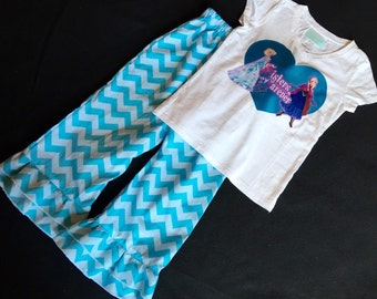 Girls size 5 Ready to ship Frozen Elsa and Anna Sisters Forever boutique outfit- appliqued shirt with chevron ruffle pants
