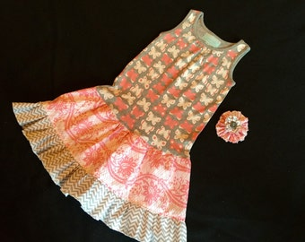 Boutique Butterfly twirly ruffle dress with matching hair accessory- Ready to ship Size 3T