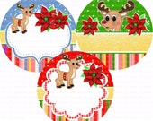 Editable Rudolph (2) Bottle Cap Images 4x6 Bottlecap Collage Scrapbooking Jewelry Hairbow Centerthth