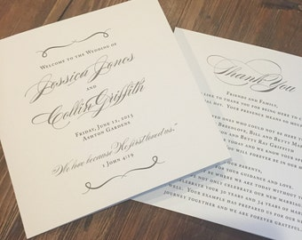 Elegant Wedding Programs // Grey and Cream // Purchase this Deposit Listing to Get Started