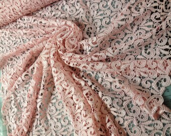"Heavy Pink Venice Lace Fabric 39"" wide-- by the yard"