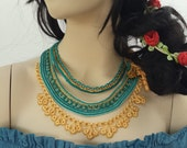 SALE-Choker,Beaded crochet necklace: Humboldtia Brunonis - necklace with beige,  blue  beaded flowers and lace - RESERVED