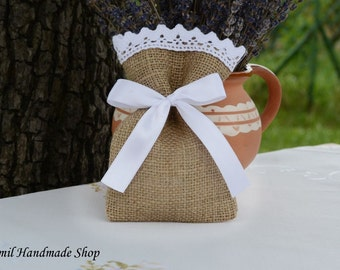 Burlap Wedding Favor Bag, Burlap Gift Bag, SET OF 25