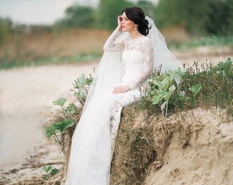 Fitted Style Lace Wedding Dress with Lace Sleeves L38, Ivory Lace Wedding Gown, Wedding Dress with Long Lace Sleeves