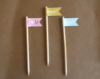 24 Cupcake Toppers / Food Pick / Banner on Stick / Flag on Stick / Customizable Cupcake Topper Flags / Personalized Toppers / Succulent Flag