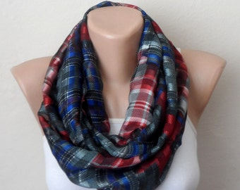 red blue gray infinity scarf chiffon scarf multicolor loop scarf circle scarf fashion scarves gift for her