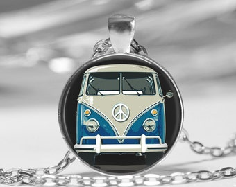 Vintage Blue Hippy Bus Photo Pendant Necklace or Key Chain Camper Van Car Collectors Jewelry glass pendant