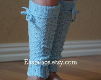 Girls Legwarmer Baby Blue Knitting with Tassel Tie Children Socks Boot Sock Leg warmer