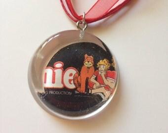 Annie Playbill Necklace- Comic Book Scrap in Resin Pendant