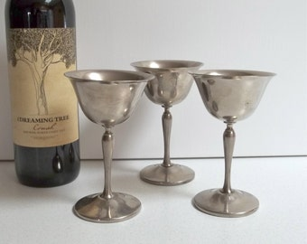 Keystonewear E.P.N.S. Silver Plated Goblets set of 3 / Silver Goblets set of 3 / Wedding Goblets / Kiddish cups / Wine Goblets / Passover