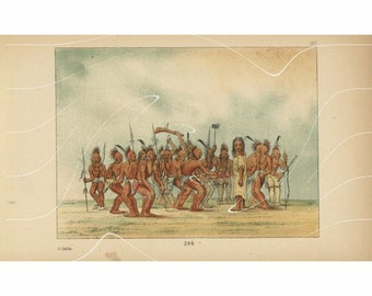 Original Antique Color Lithograph Print Of  American Indian Indian Warriors From George Catlin from first colored Edition.Very Special