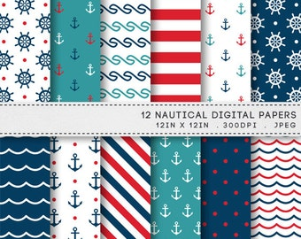 Nautical Digital Paper Navy Blue Red Anchors Helms Waves / INSTANT DOWNLOAD / 12 Sailor Digital Papers / Printable Patterns 082
