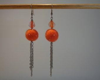 Silver Art Deco Earrings, Orange Silver Dangle Earrings, Orange Round Earrings, Orange Boho Dangle Earrings, Orange Statement Earrings