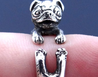 Pug Ring, 925 Sterling Silver, Pug, Dog Ring, Pug Art, Animal Ring, Animal Jewelry, Unique Ring, Adjustable Ring, Handmade Vintage Patina
