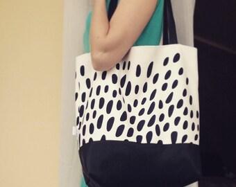Tote Maxi Bag, Black&White Bag, Leather Bag, Elegant Tote Bag