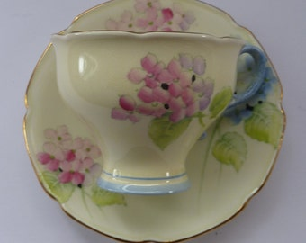 Beautiful and Rare 1930s PARAGON Bone China Hortensia Pattern Appointment to QUEEN MARY  Tea Cup & Saucer