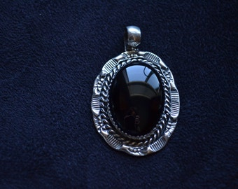 Handmade Sterling Silver and Black Oynx Pendant