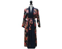 Vintage Victoria's Secret House robe in rose floral pattern with sheer mesh large piping in midnight blue base color // one size fits all