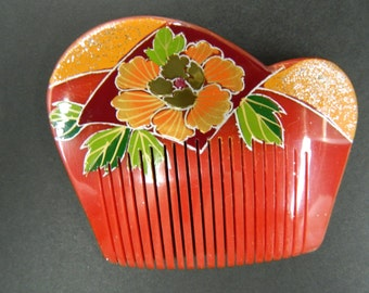 Vintage red hand painted hair comb
